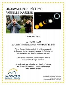 Observation de l'éclipse solaire - Activité à Notre-Dame-des-Bois