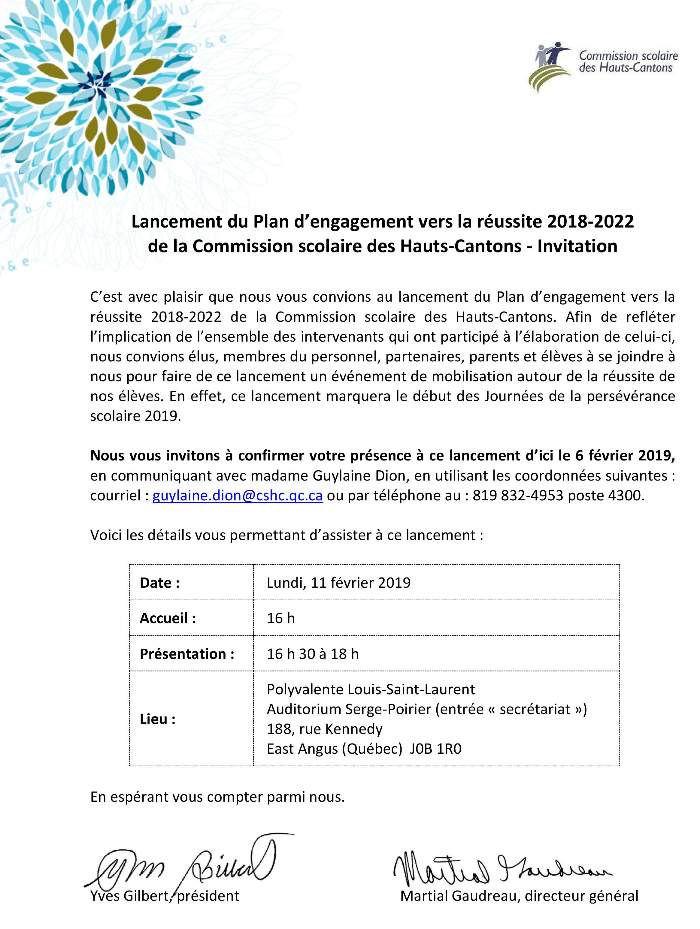 Calendrier Scolaire 2018_2022 Lancement du Plan d'engagement vers la réussite 2018 2022 de la